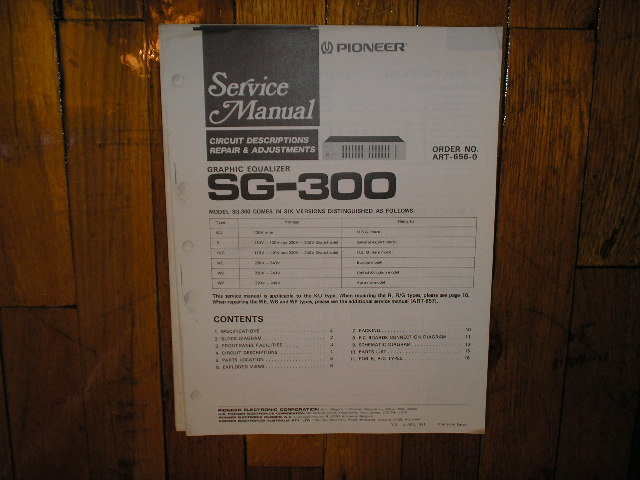 SG-300 Graphic Equalizer Service Manual