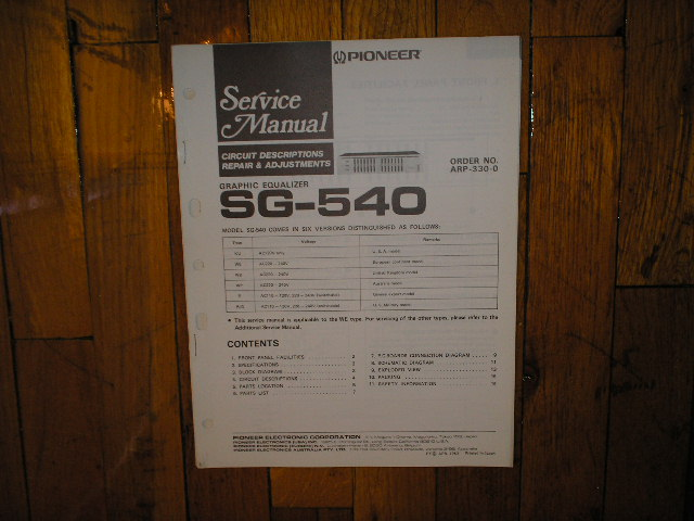 SG-540 Graphic Equalizer Service Manual