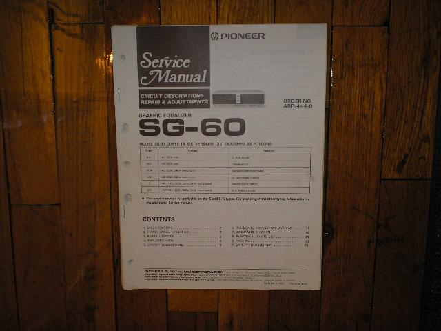 SG-60 SG-60BK Graphic Equalizer Service Manual