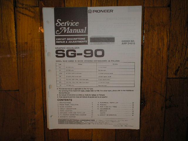SG-90 SG-90BK Graphic Equalizer Service Manual