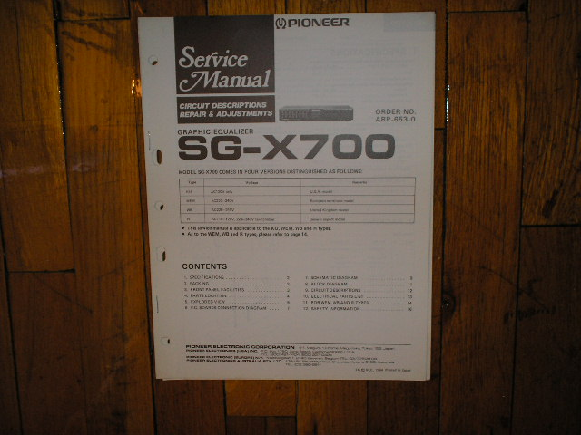 SG-X700 Graphic Equalizer Service Manual