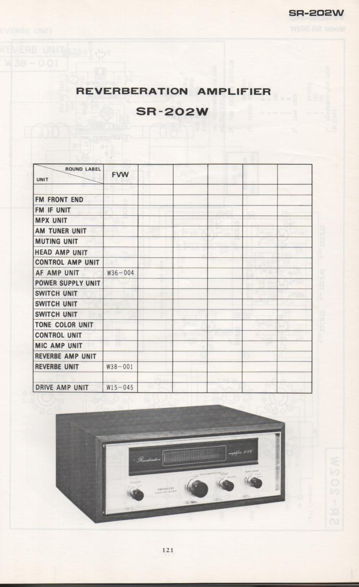 SR-202W Reverb Amplifier Schematic Manual Only.  It does not contain parts lists, alignments,etc.  Schematics only