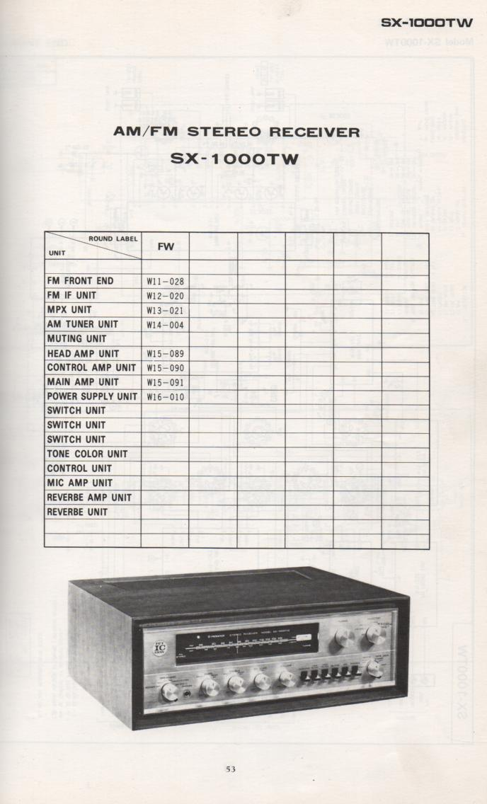 SX-1000TW Schematic Manual Only.  It does not contain parts lists, alignments,etc.  Schematics only