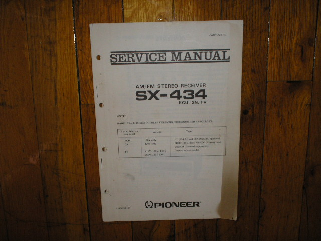 SX-434 Receiver Service Manual For KCU, GN, and FV Versions..