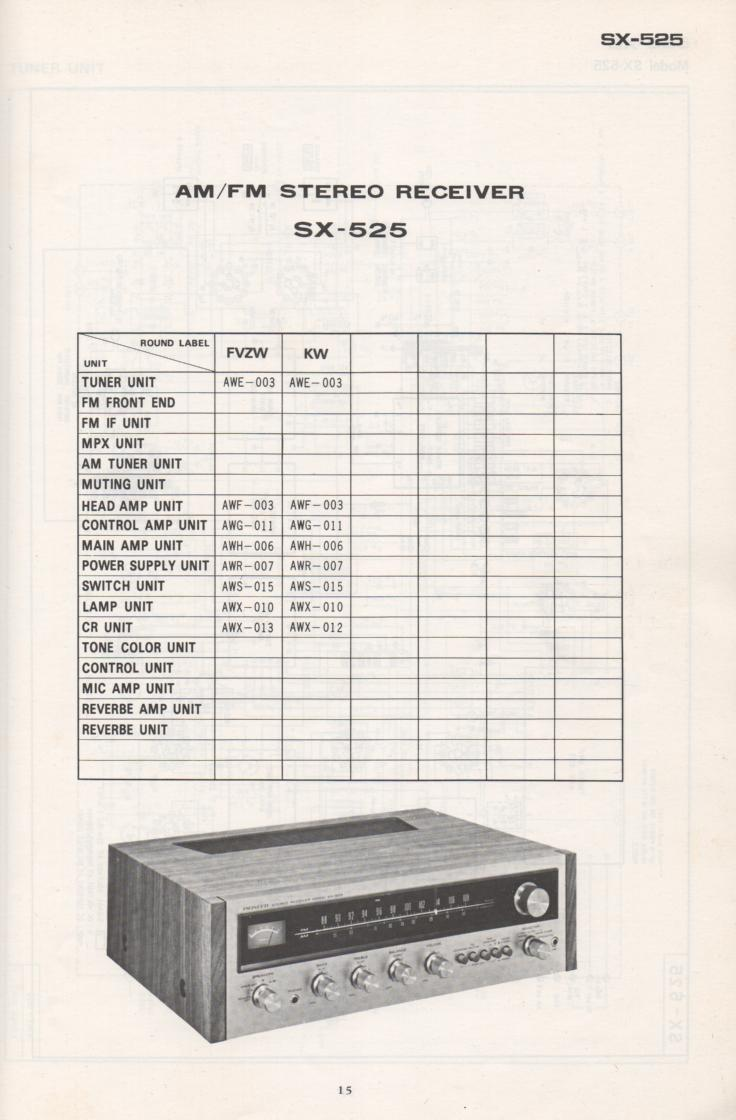 SX-525 Schematic Manual Only.  It does not contain parts lists, alignments,etc.  Schematics only