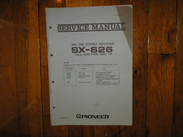 SX-626 Receiver Service Manual for KCW, KUW, FVZW, NBW, FW, Versions.