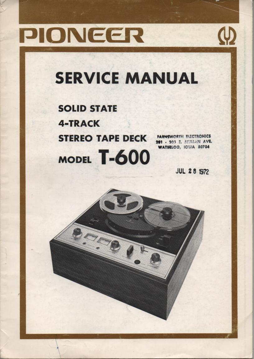 T-600 4-Track Reel to Reel Service Manual