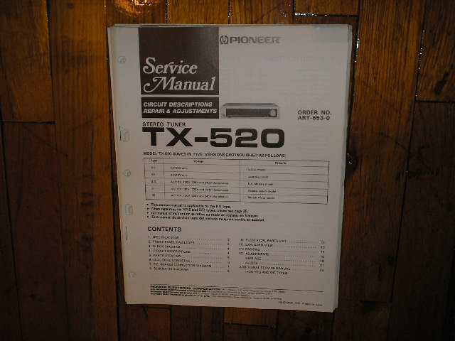 TX-520 Tuner Service Manual