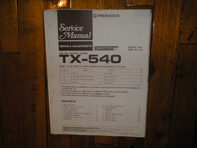 TX-540 Tuner Service Manual
