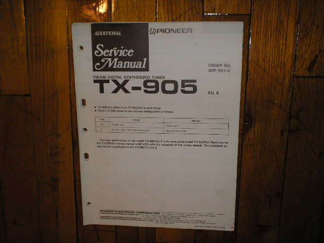 TX-905 Tuner Service Manual
