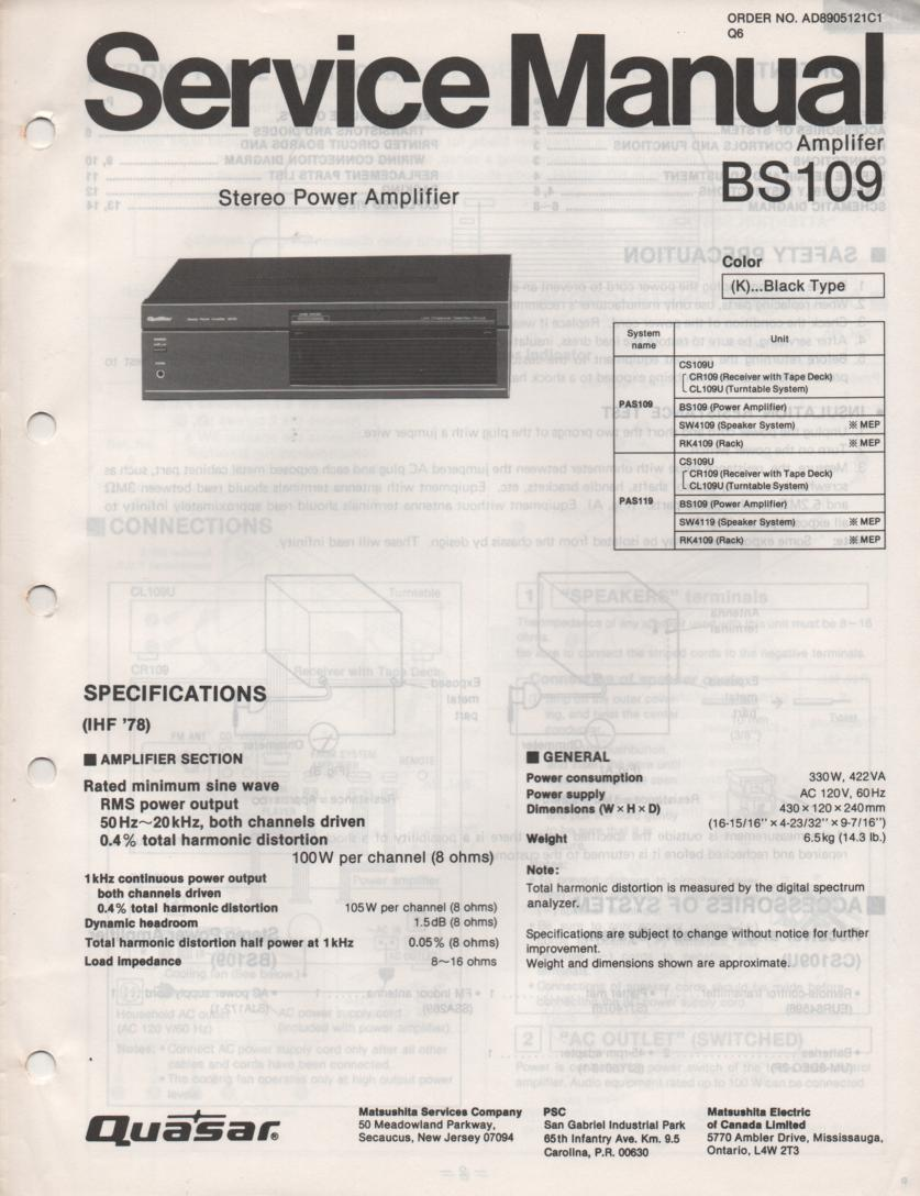 BS109 Amplifier Service Manual