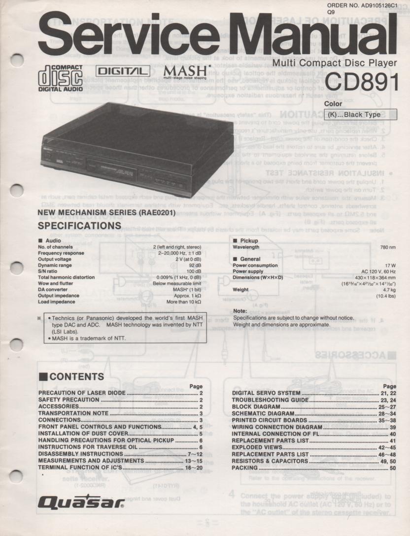 CD891 CD Player Service Manual