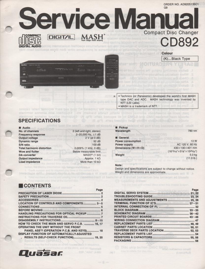 CD892 CD Player Service Manual