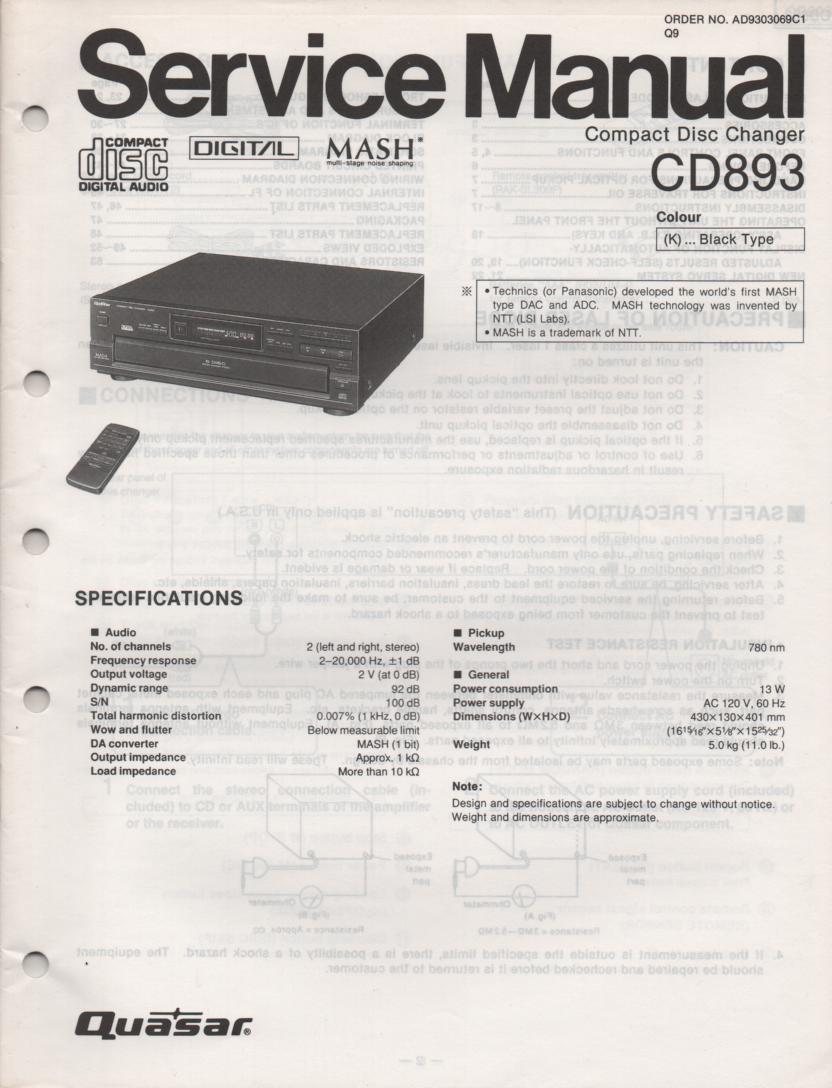 CD893 CD Player Service Manual