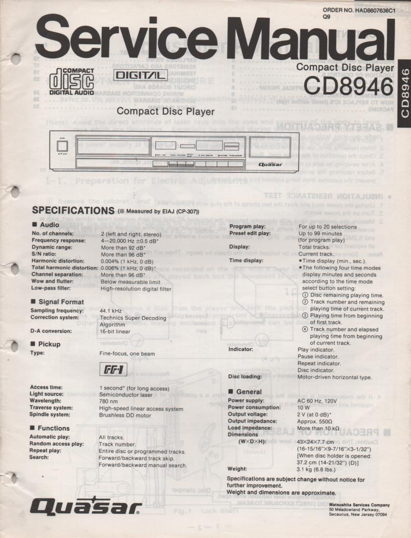 CD8946 CD Player Service Manual