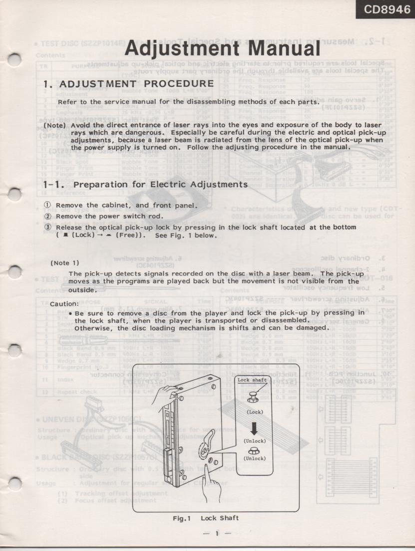 CD8946 CD Player Adjustment Manual