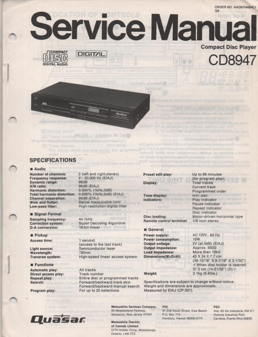CD8947 CD Player Service Manual