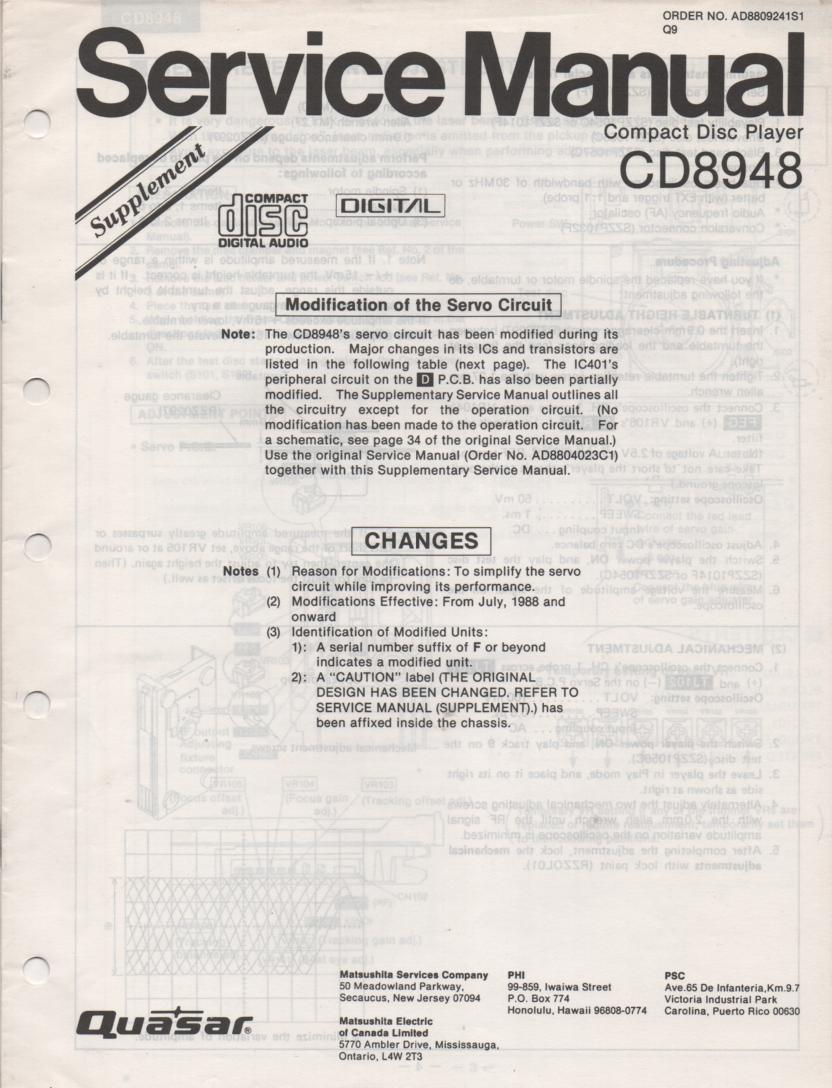 CD8948 CD Player Adjustment Manual