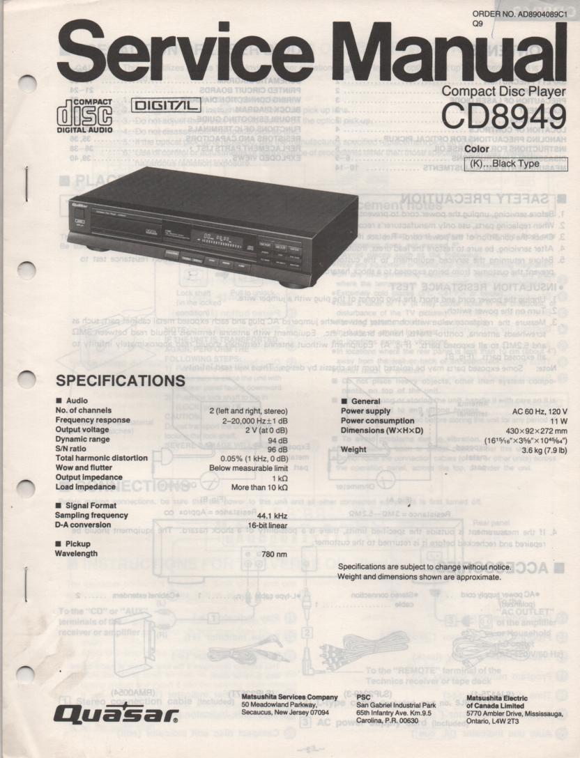 CD8949 CD Player Service Manual.