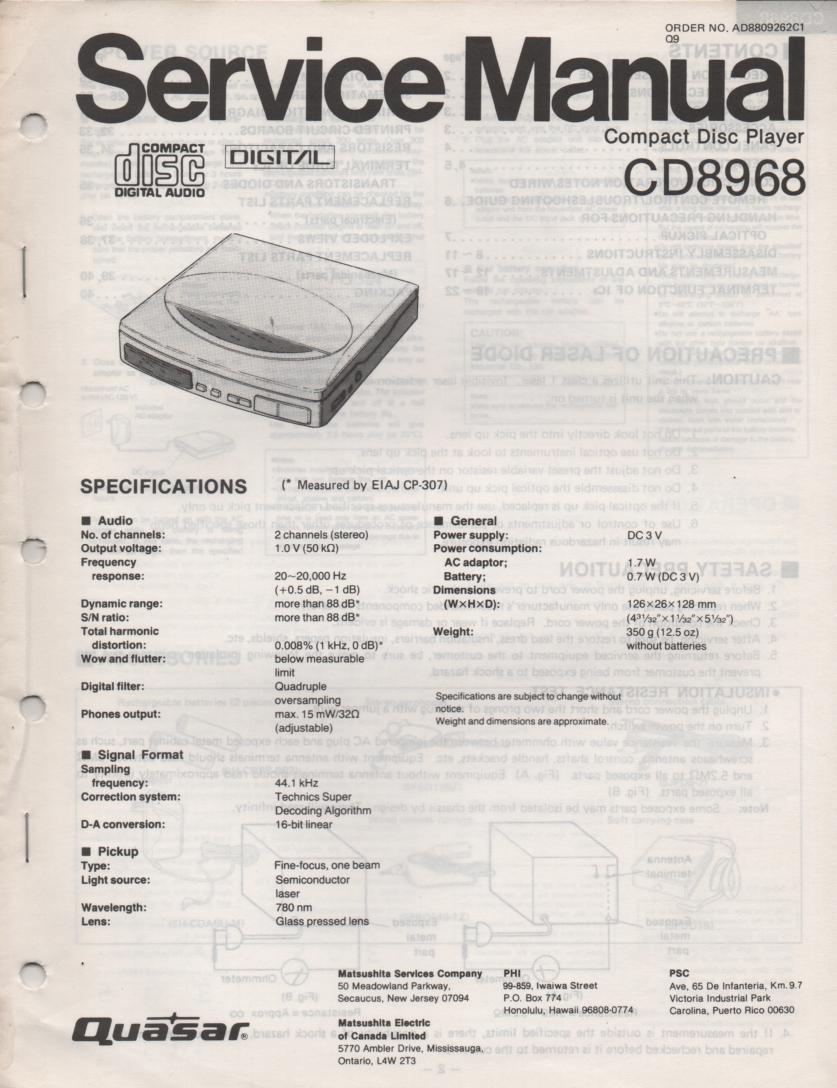 CD8968 CD Player Service Manual.