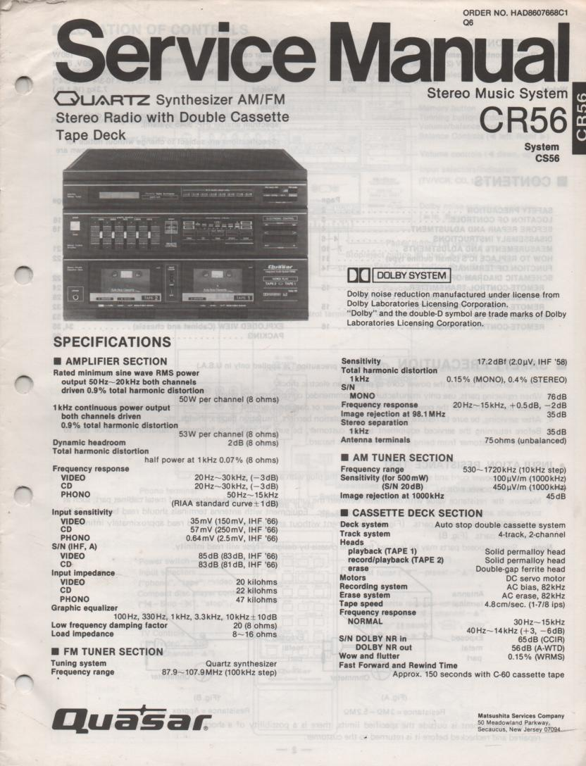 CR56 Stereo System Service Manual