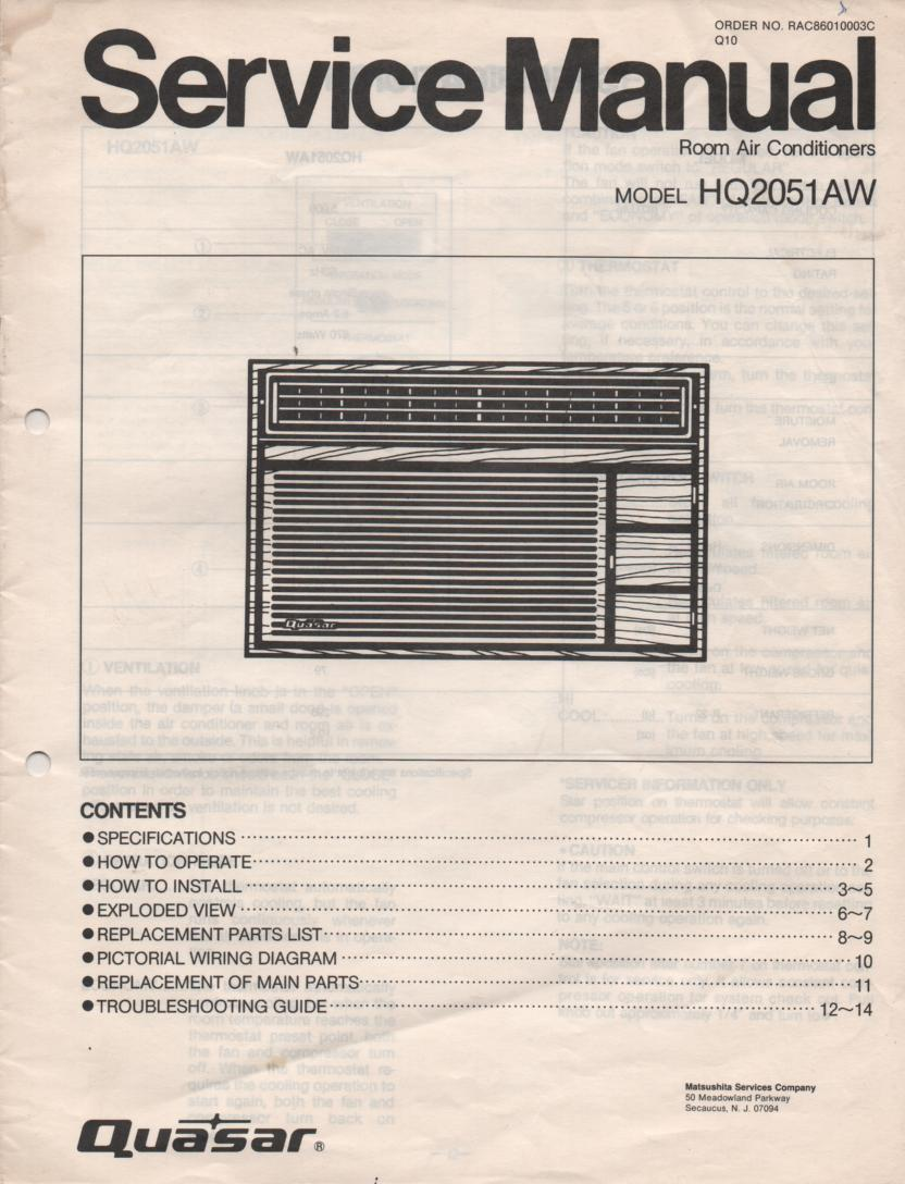 HQ2051AW Air Conditioner Service Manual
