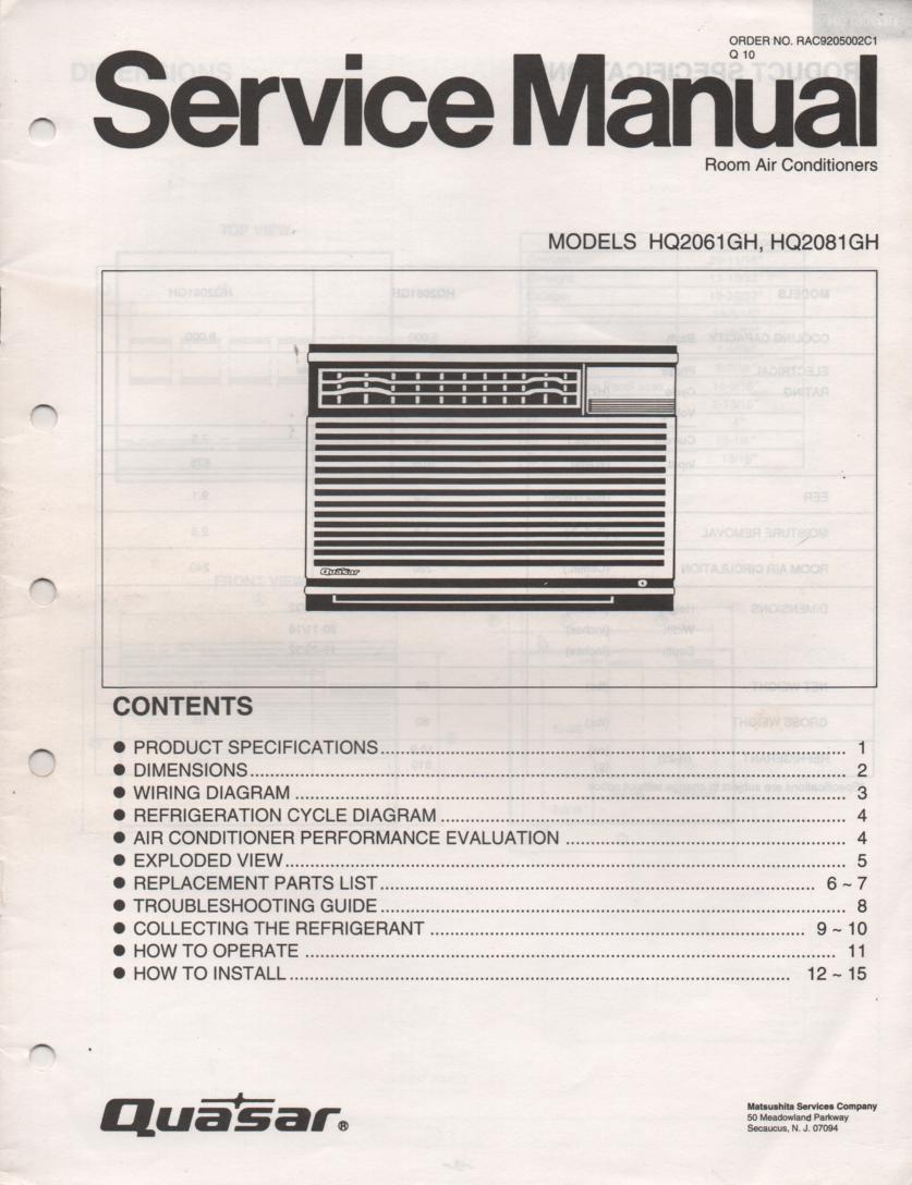 HQ2061GH HQ2081GH Air Conditioner Service Manual
