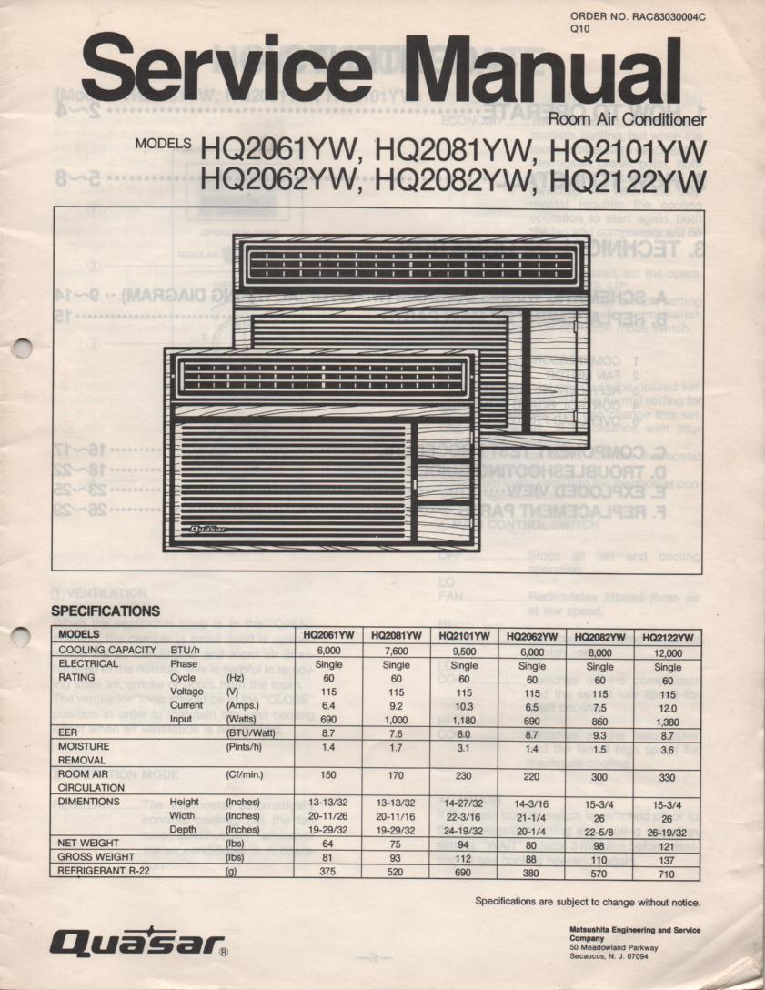 HQ2061YW HQ2062YW HQ2081YW HQ2082YW HQ2101YW HQ2122YW Air Conditioner Service Manual
