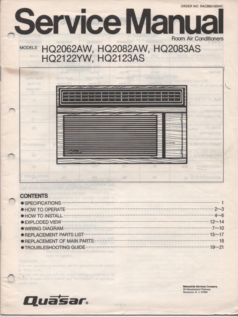 HQ2062AW HQ2082AW HQ2083AS HQ2122YW HQ2123AS Air Conditioner Service Manual