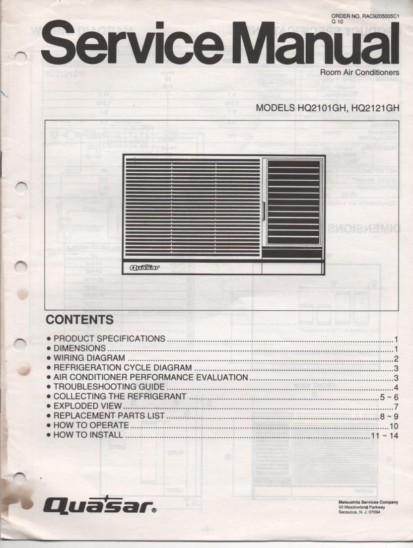 HQ2102GH HQ2101GH Air Conditioner Service Manual