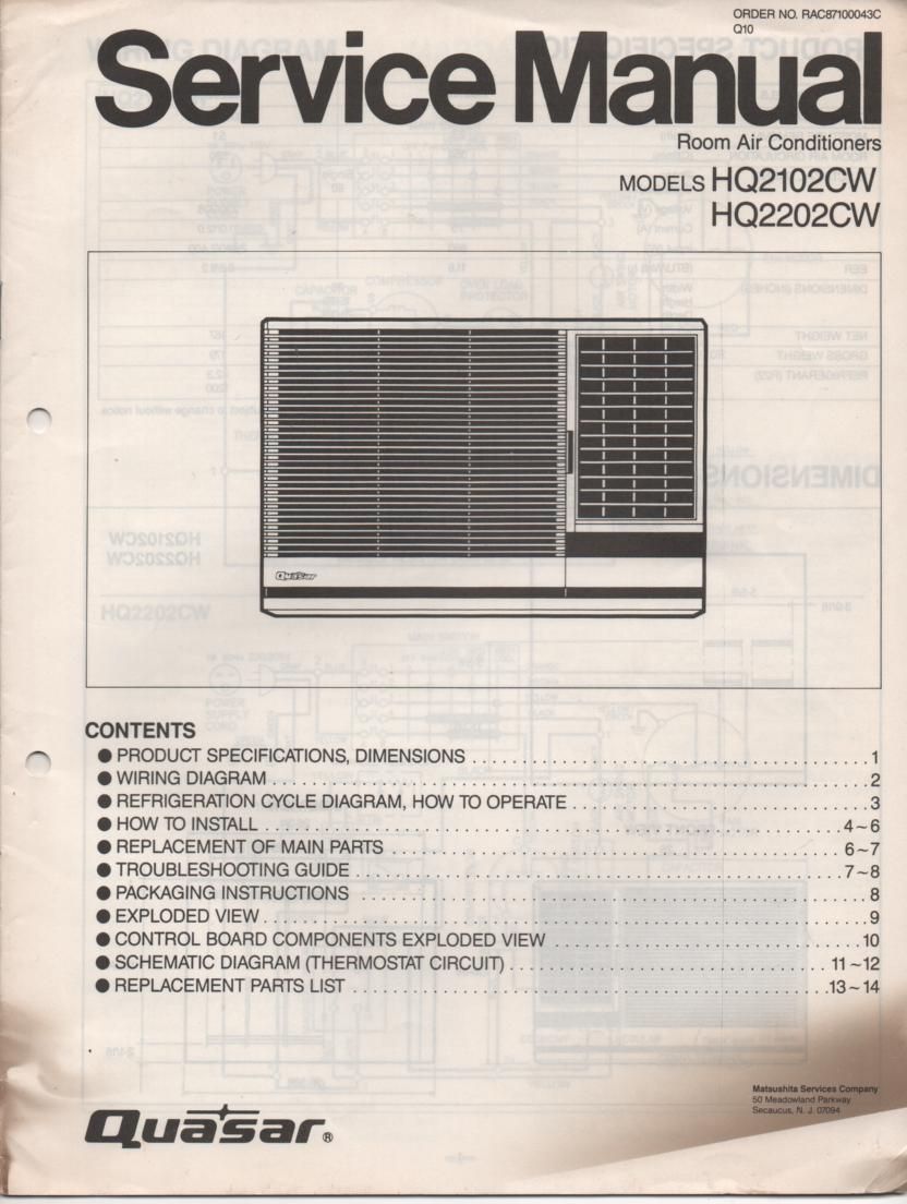 HQ2102CW HQ2202CW Air Conditioner Service Manual