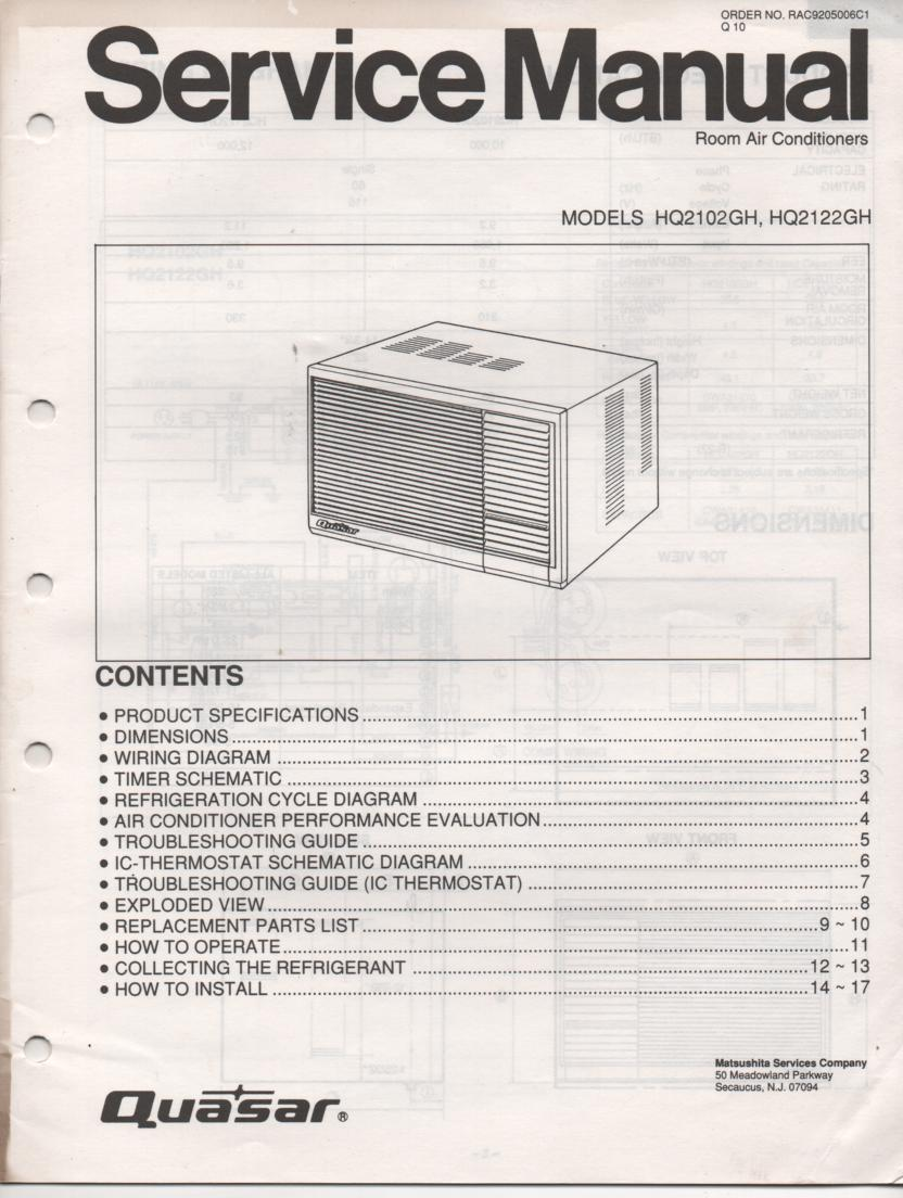 HQ2102GH HQ2122GH Air Conditioner Service Manual