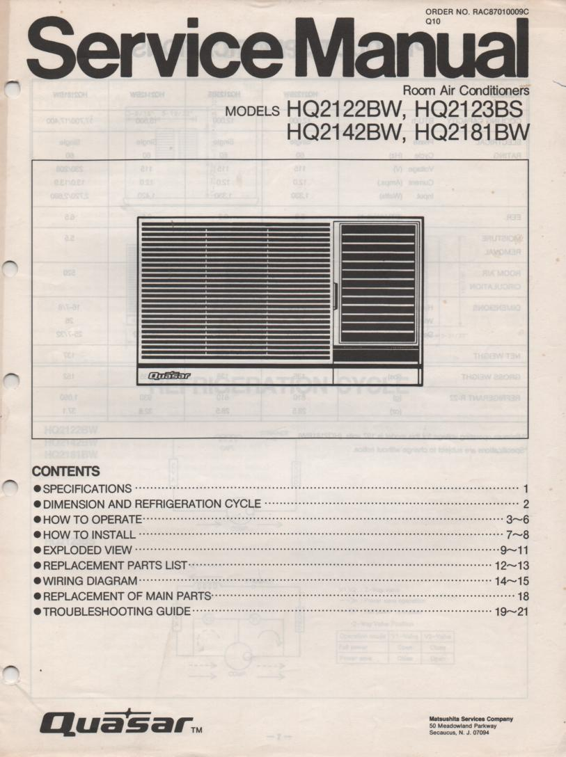 HQ2122BW HQ2123BS HQ2142BW HQ2181BW Air Conditioner Service Manual