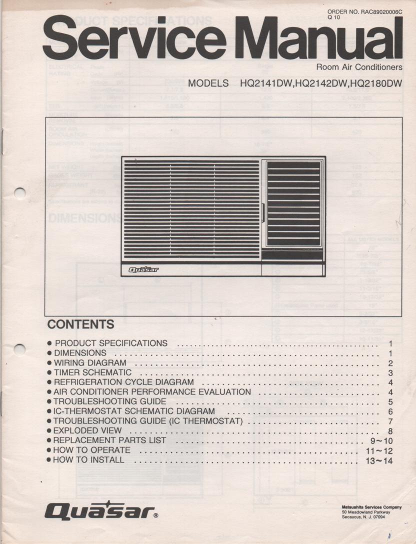 HQ2141DW HQ2142DW HQ2180DW Air Conditioner Service Manual