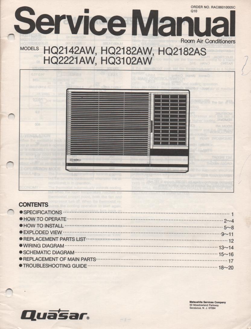 HQ2142AW HQ2182AW HQ2182AS HQ2221AW HQ3102AW Air Conditioner Service Manual