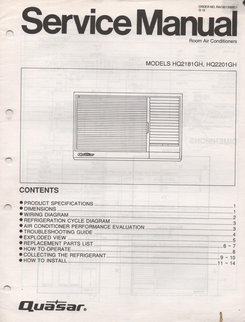 HQ2181GH HQ2201GH Air Conditioner Service Manual