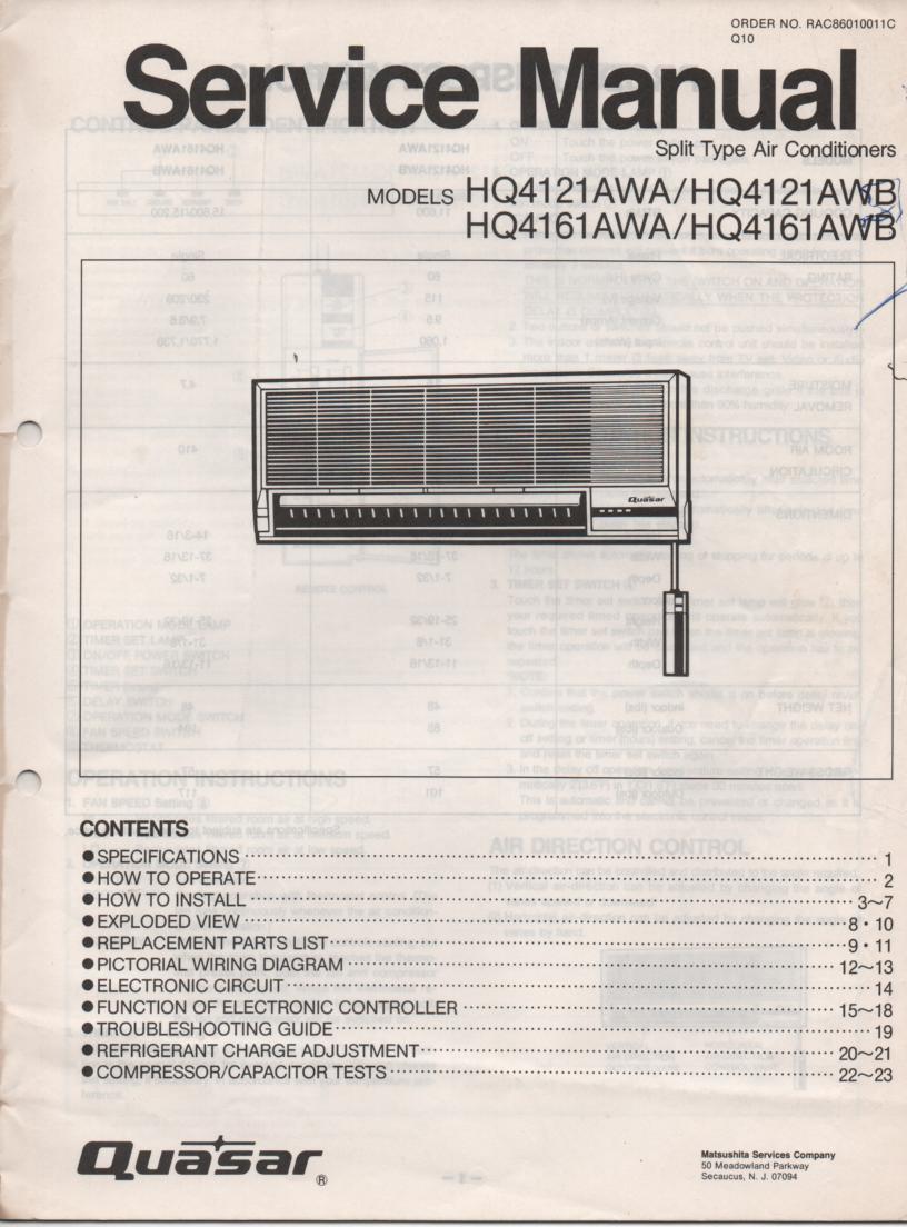 HQ4121AWA HQ4121AWB  HQ4161AWA HQ4161AWB Air Conditioner Service Manual