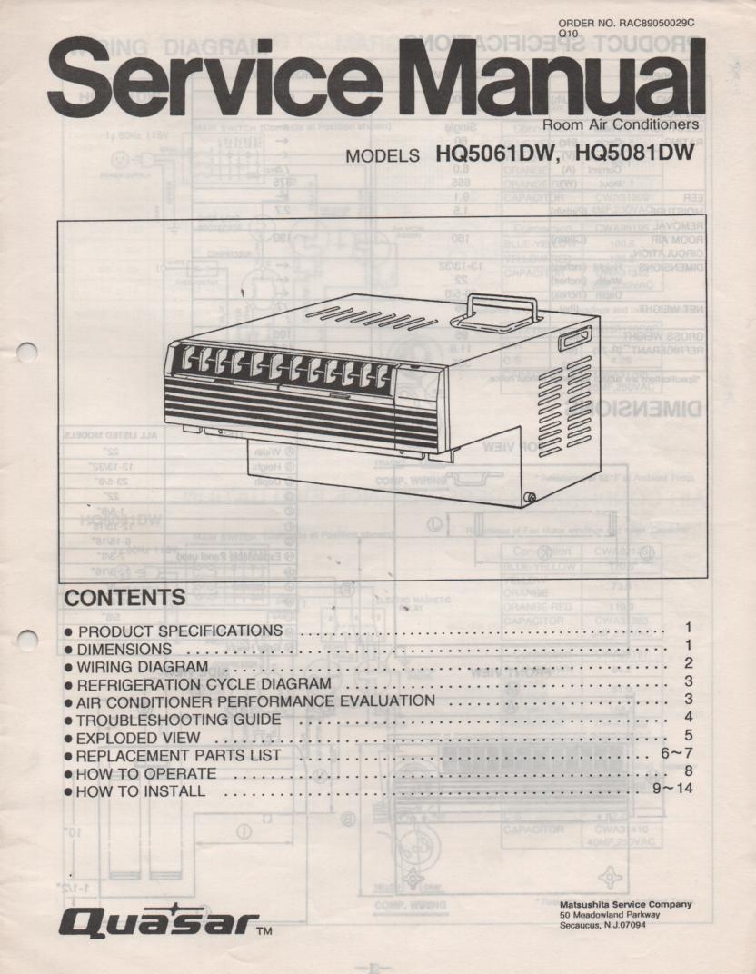 HQ5061DW HQ5081DW Air Conditioner Service Manual