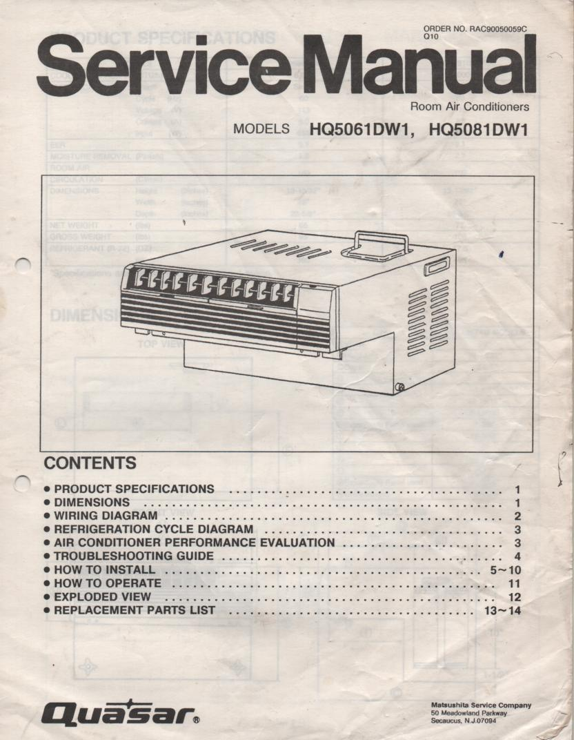 HQ5061DW1 HQ5081DW1 Air Conditioner Service Manual