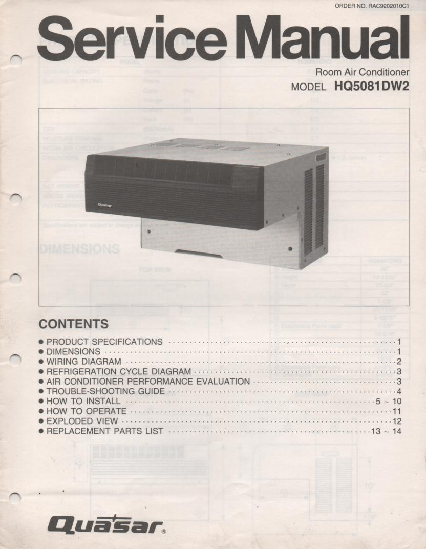 HQ5081DW2 Air Conditioner Service Manual