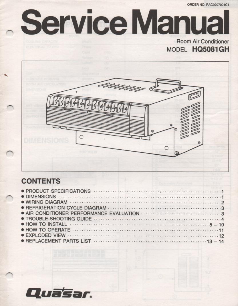 HQ5081GH Air Conditioner Service Manual