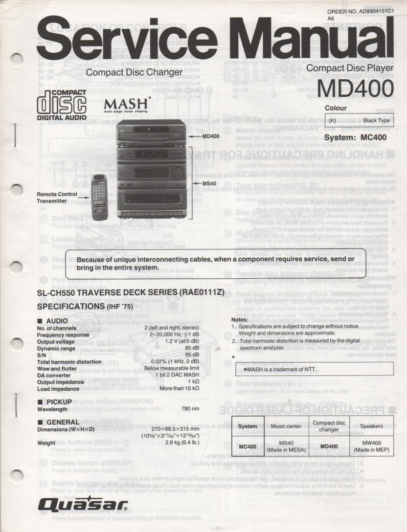 MD400 Stereo System Service Manual