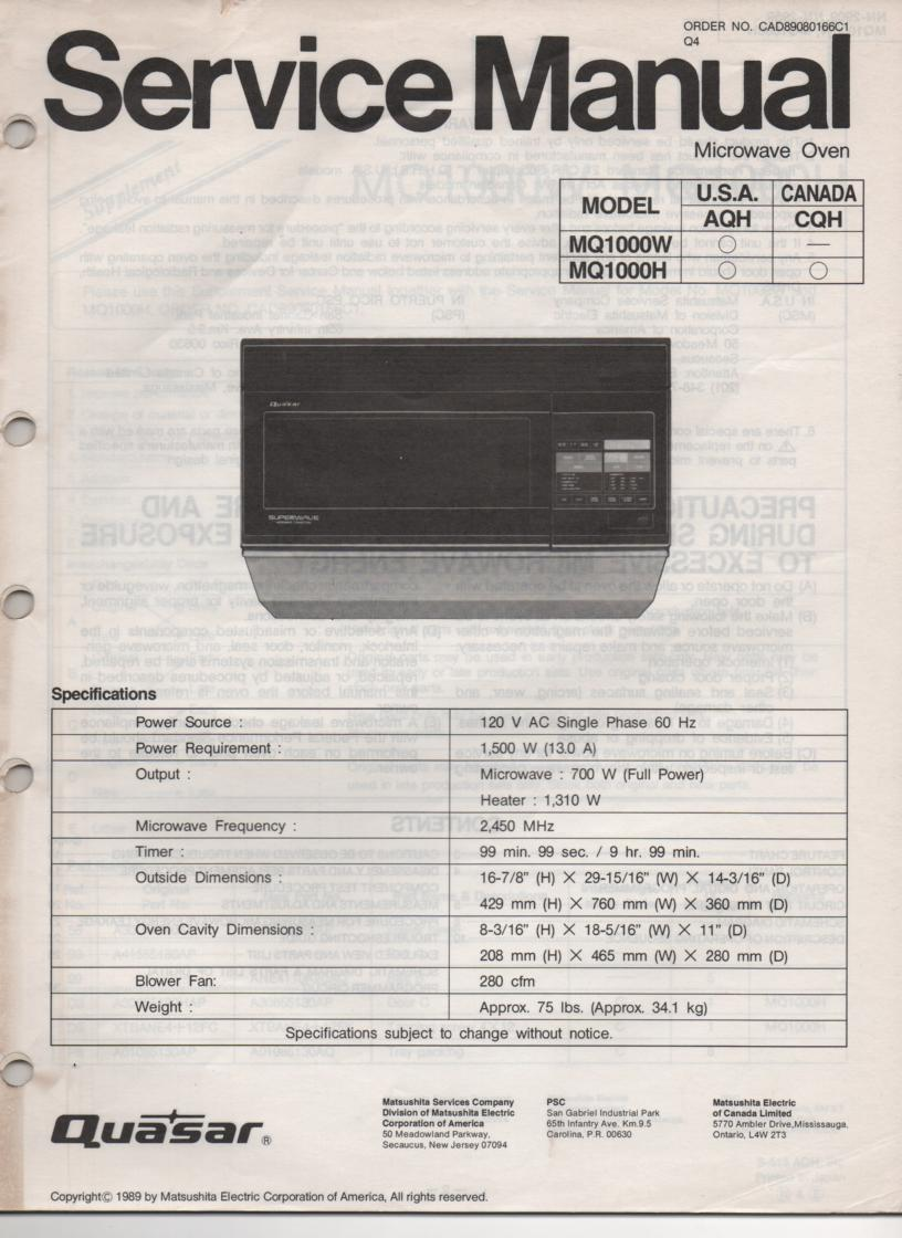 MQ1000W MQ1000H Microwave Oven Service Operating Instruction Manual