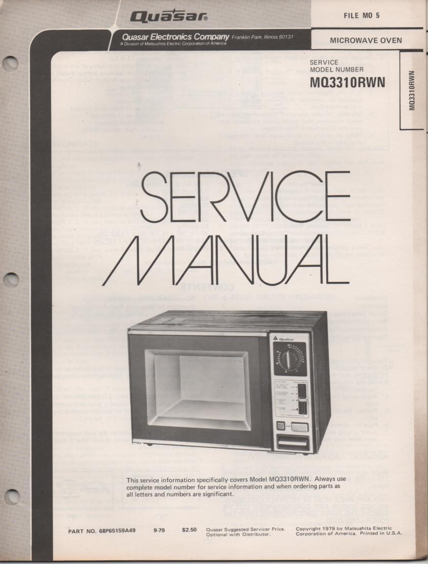 MQ3310RWN Microwave Oven Service Instruction Manual