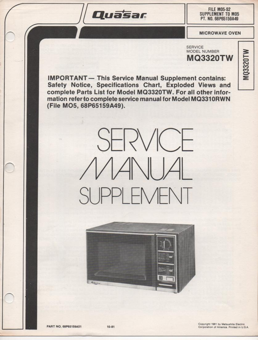 MQ3320TW Microwave Oven Service Instruction Manual