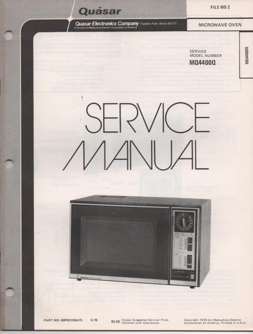 MQ4400Q Microwave Oven Service Instruction Manual