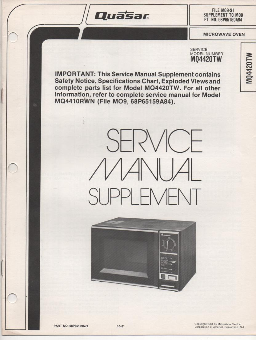 MQ4410WN Microwave Oven Service Instruction Manual