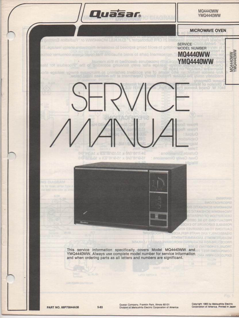 MQ4440WW YMQ4440WW Microwave Oven Service Instruction Manual