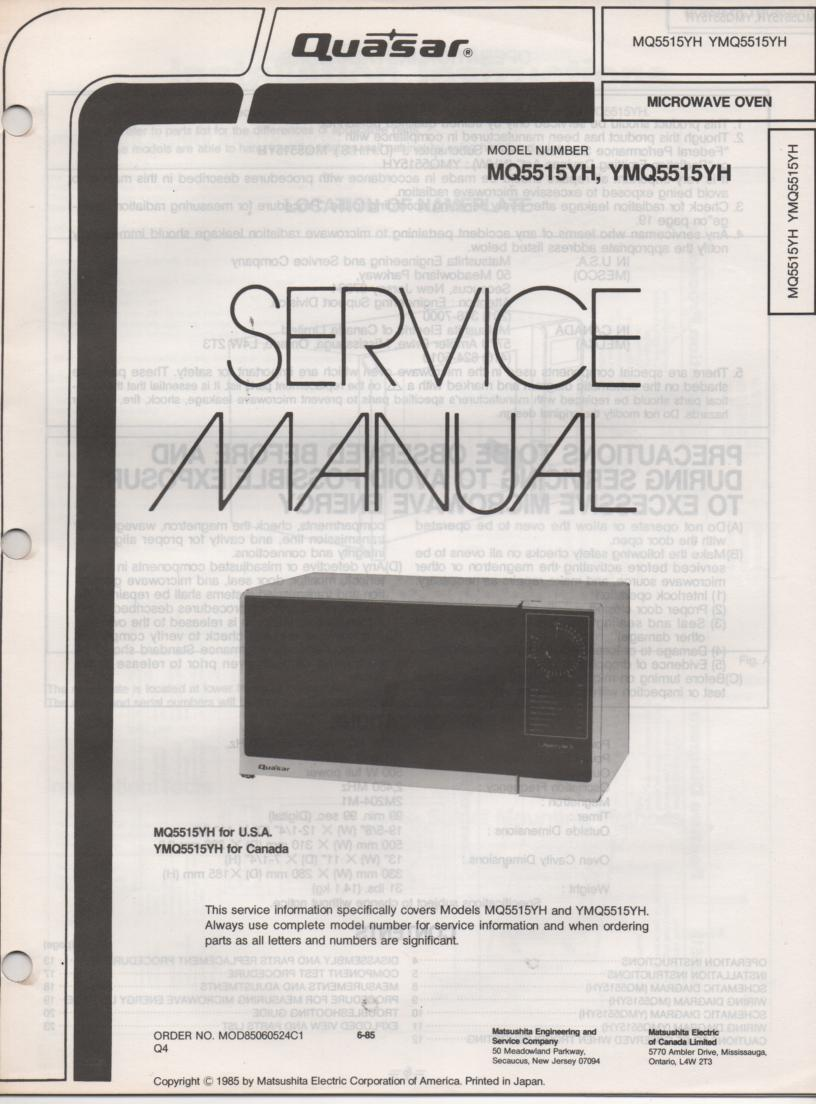 MQ5515YH YMQ5515YH Microwave Oven Service Instruction Manual