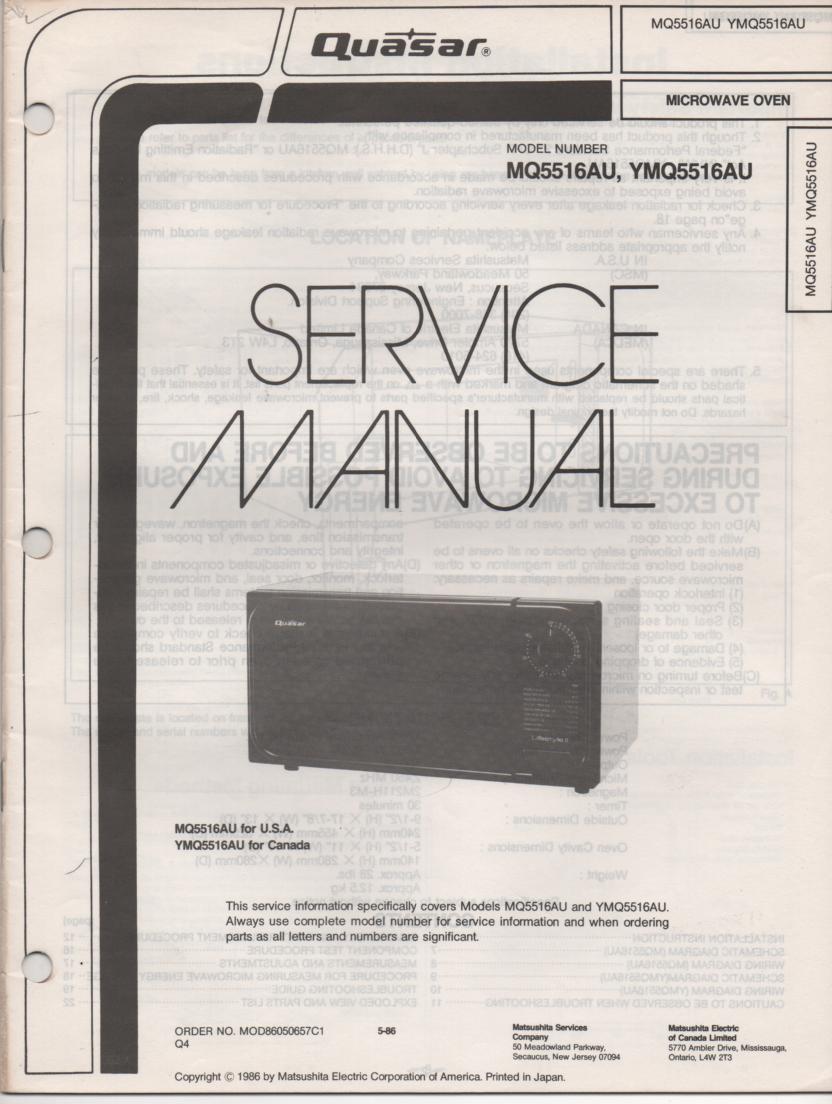 MQ5516AU YMQ5516AU Microwave Oven Service Instruction Manual
